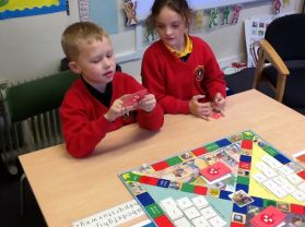 Fun Friday doing reading activity games in p4 with Mrs Young